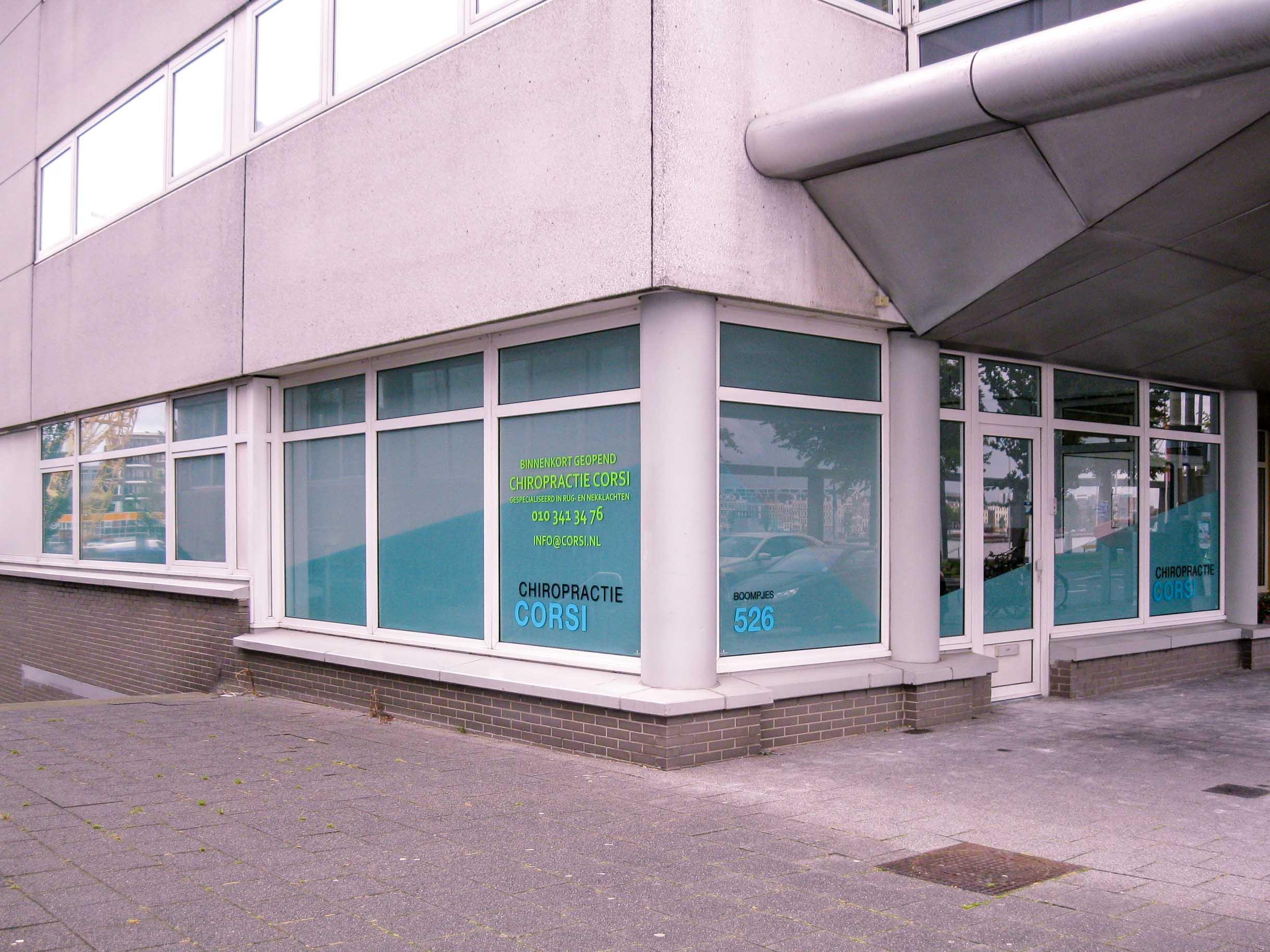 Raambelettering Chiropractie Corsi, Rotterdam